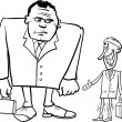 Businessmen big and thin cartoon — Imagen vectorial