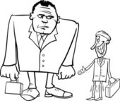 Businessmen big and thin cartoon — Stock Vector