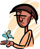 Man with butterfly illustration — Wektor stockowy