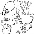 Cartoon Rodents for Coloring Book — Imagens vectoriais em stock