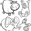 Cartoon Animals for Coloring Book — Stock Vector