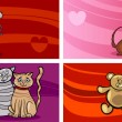 Valentine cartoon greeting cards set — 图库矢量图片 #36605931