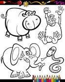 Cartoon Animals for Coloring Book — Stock Vector