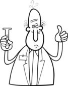 Scientist with vial coloring page — 图库矢量图片