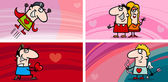 Valentine cartoon greeting cards set — Vetor de Stock