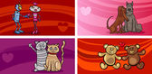 Valentine cartoon greeting cards set — 图库矢量图片