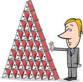 Businessman and house of cards cartoon — Stock Vector