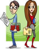 Students couple in love cartoon — Stock Vector