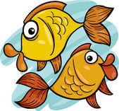 Zodiac pisces or fish cartoon — Stock Vector