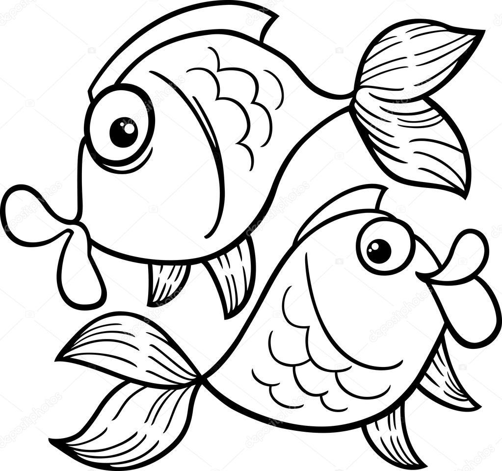 Znak zodiaku ryby lub ryby kolorowanki grafika wektorowa for Disegni da colorare pesciolini