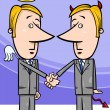 Angel and devil businessmen cartoon — Stock Vector