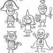 Kids in costumes set coloring page — Imagen vectorial