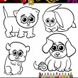 Baby pets cartoon set coloring page — Stock Vector