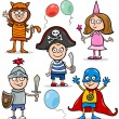 Children in fancy ball costumes set — Stock Vector