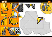 Cartoon bulldozer jigsaw puzzle game — Stockvektor