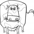 Cow farm animal coloring page — Stock Vector