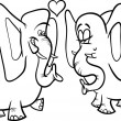 Stock Vector: elephants in love coloring page