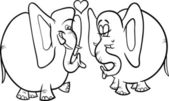 Elephants in love coloring page — 图库矢量图片