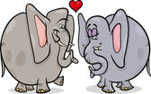 Elephants in love cartoon illustration — Cтоковый вектор