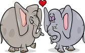 Elefantes en la ilustración de dibujos animados de amor — Vector de stock