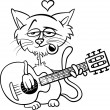 Cat in love cartoon coloring page — Stock Vector #38028023