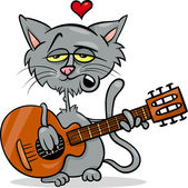 Cat in love cartoon illustration — Vecteur