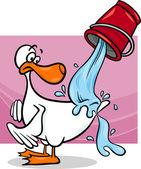 Water off a ducks back cartoon — Stock Vector