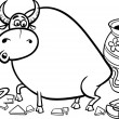 Bull in a china shop coloring page — Stock Vector