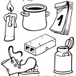 Objects cartoon set for coloring book — 图库矢量图片