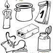 Objects cartoon set for coloring book — Stok Vektör