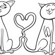 Cats in love cartoon coloring page — Stock Vector