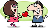 Couple in love cartoon illustration — 图库矢量图片