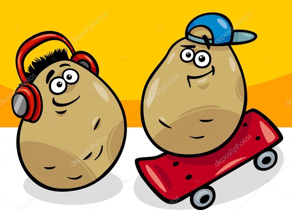 Neue Kartoffeln-Kartoffeln-cartoon-illustration