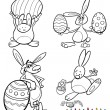 Easter bunnies cartoons for coloring book — Stock Vector #38706963