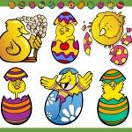 Easter chicks set cartoon illustration — Stock Vector #38706983