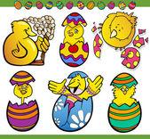 Easter chicks set cartoon illustration — Stock Vector