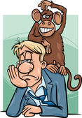 Monkey on your back cartoon — Stock Vector