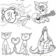Stock Vector: Cartoon characters set for coloring book