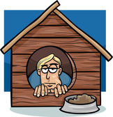 In the dog house saying cartoon — Stock Vector