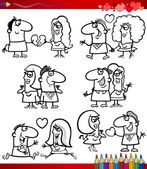 Couple in love cartoons coloring page — Stock Vector