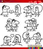 Paar in liefde tekenfilms kleurplaten pagina — Stockvector