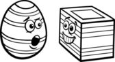 Easter square egg coloring page — Stock Vector