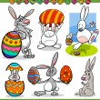 Easter bunnies set cartoon illustration — Stock Vector #38926023