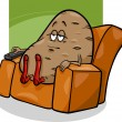 Couch potato saying cartoon — Stok Vektör