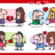 Valentine couples in love cartoon set — 图库矢量图片