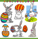 Easter bunnies set cartoon illustration — Stock Vector