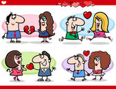 Valentine couples in love cartoon set — Stock vektor