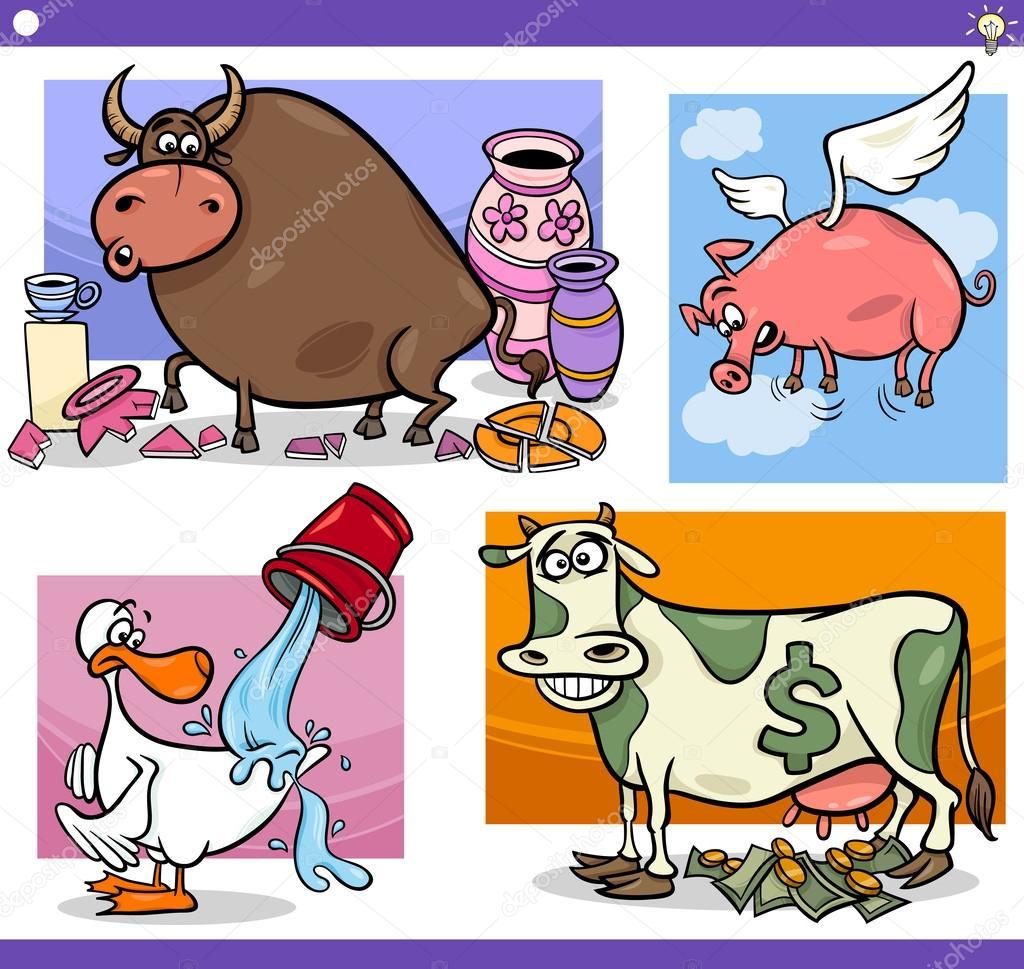 插图套幽默卡通的俗语或谚语概念和隐喻的有趣的动物角色 — 矢量图片