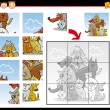 Cartoon dogs and cats jigsaw puzzle game — Stock Vector #39210415