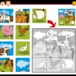 Cartoon farm animals jigsaw puzzle — Stock Vector
